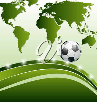 Illustration football background with ball for design card - vector