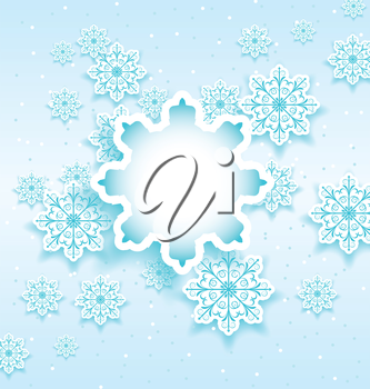 Illustration Christmas bubble with set snowflakes - vector
