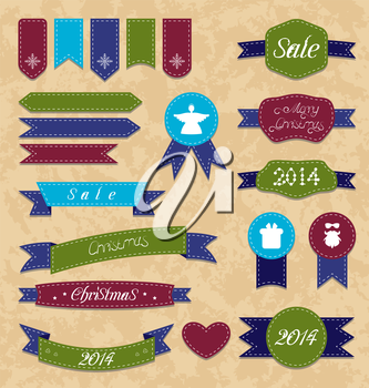 Illustration Christmas set geometric emblems and ribbons - vector