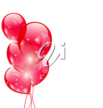 Illustration flying red balloons isolated on white background - vector