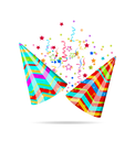Illustration colorful party hats with confetti for your holiday - vector