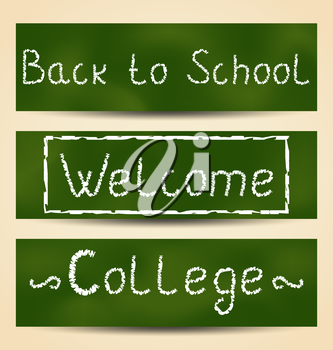 Illustration set school card with text - vector