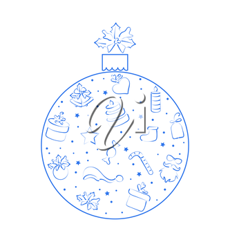 Illustration abstract ball made in xmas hand drawn elements, isolated on white background - vector
