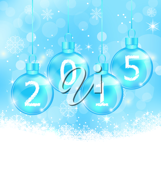 Illustration winter snowflakes background with glass balls - vector