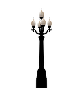 Illustration vintage forged lamppost isolated on white background - vector