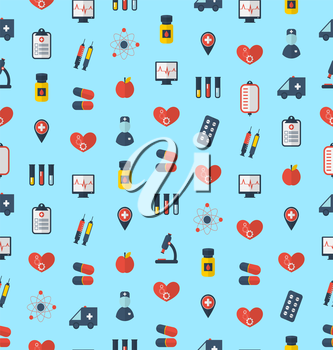 Illustration Medical Seamless Pattern, Flat Simple Colorful Icons - Vector