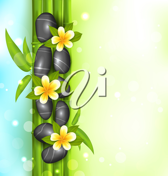 Illustration spa therapy background with bamboo, stones and frangipani flowers (plumeria) - vector