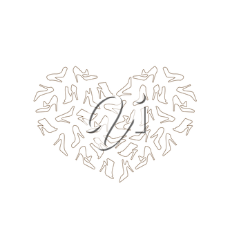 Illustration Heart Made in Women Shoes, Outline Style - Vector