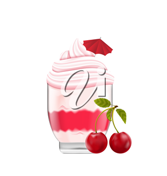 Illustration Ice Cream with Whipped Cream, Cherry and Umdrella, Isolated on White Background - Vector