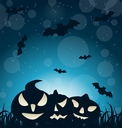 Illustration Halloween Spooky Dark Background with Carving Pumpkins and Bats - Vector