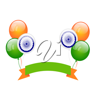 Illustration Colorfool Balloons in Traditional Tricolor of Indian Flag for Independence Day - Vector