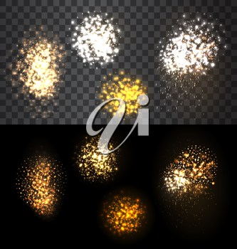 Abstract festive set firework bursting various shapes sparkling against isolated transparency checker and black  background  - vector illustration