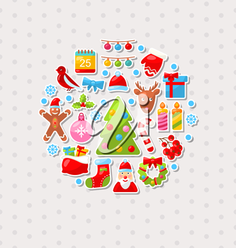 Illustration Merry Christmas Celebration Card with Traditional Elements - Vector