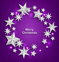 Illustration Abstract Celebration Round Frame Made of Silver Stars for Merry Christmas - Vector
