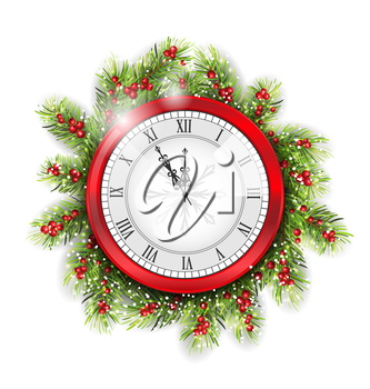 Illustration Christmas Fir Branches with Clock, New Year Decoration on White Background - Vector