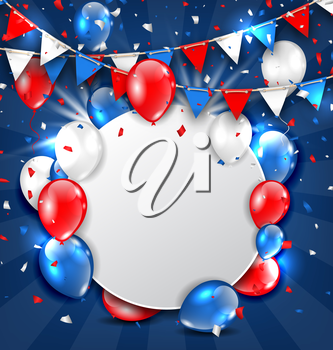 Illustration Greeting Card for American Holidays, Colorful Bunting, Balloons and Confetti. Space for Your Text - Vector