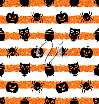 Illustration Seamless Background with Pumpkin, Spider, Pot, Owl. Holiday Wallpaper for Halloween - Vector