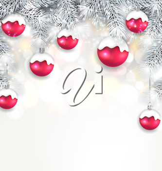 Illustration Holiday Glowing Background with Silver Fir Branches and Christmas Balls - Vector