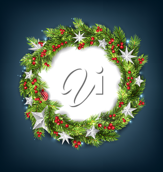 Christmas Wreath with Silver Stars for Happy New Year 2019. Card Template - Illustration Vector