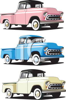 Royalty Free Clipart Image of Pickup Trucks