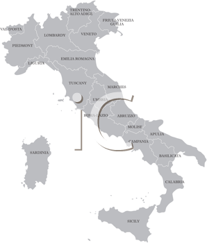 Royalty Free Clipart Image of a Map of Italy