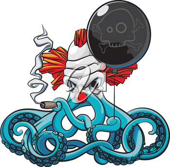 Vector colourful illustration of octopus the angry clown smoking cigar with black balloon in his tentacles, isolated on white background. File doesn't contains gradients, blends, transparency and strokes or other special visual effects. You can open this file with any vector graphics editors.