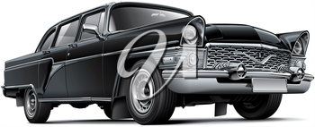 High quality vector image of Soviet luxury car, isolated on white background. File contains gradients, blends and transparency. No strokes. Easily edit: file is divided into logical layers and groups. NOTE: palette contains progressive black.