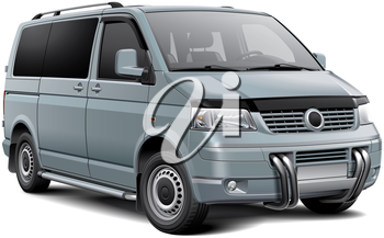 High quality vector illustration of silver European passenger van with roo bar, isolated on white background. File contains gradients, blends and transparency. No strokes. Easily edit: file is divided into logical layers and groups.