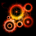 Royalty Free Clipart Image of Glowing Techno Gears