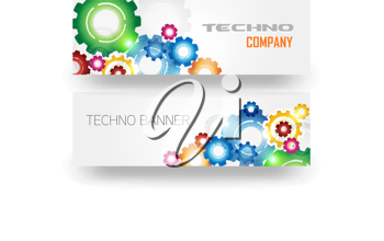 Royalty Free Clipart Image of a Card With Gears for a Techno Company Banner