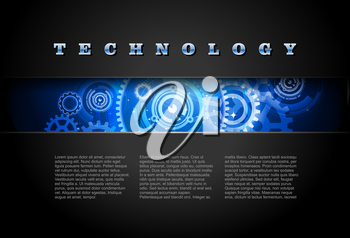 Royalty Free Clipart Image of a Technology Banner With Gears