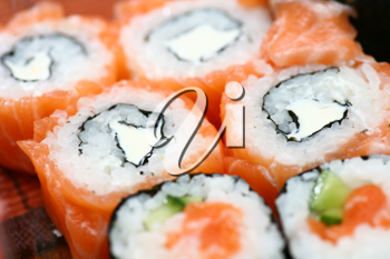 salmon sushi rolles close up low angel shot