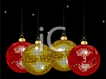 Christmas Disco Clipart.Royalty Free Clipart Image Of Christmas Disco Ornaments