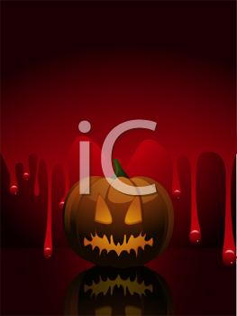Royalty Free Clipart Image of a Pumpkin on a Background With Running Blood