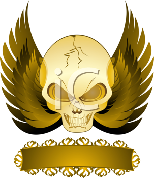 Royalty Free Clipart Image of a Skull and Wings Banner