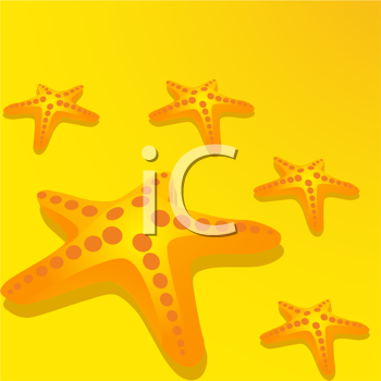Royalty Free Clipart Image of a Starfish Background