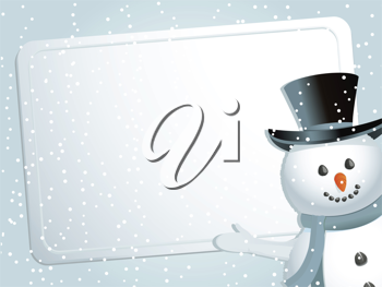 Christmas background with snowman indicating white label with space for message on a blue snowflacke background
