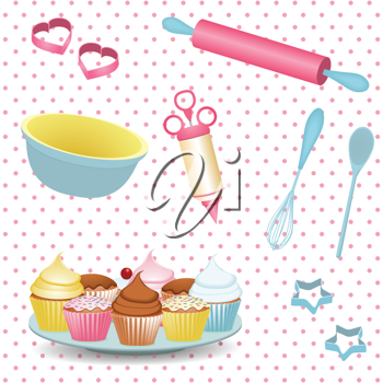 retro baking equipment and cupcakes on a polka dot background