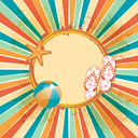 Retro Summer Background with Flip Flops, Beach Ball and Starfish on a Circular Border