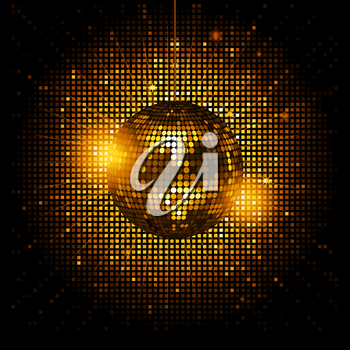 Royalty Free Clipart Image of a Glowing Gold Disco Ball