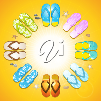 Colourful flipflop border on golden yellow background