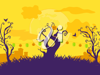 Halloween Cartoon Vector Background with Curly Trees, Lanterns and Grave yard