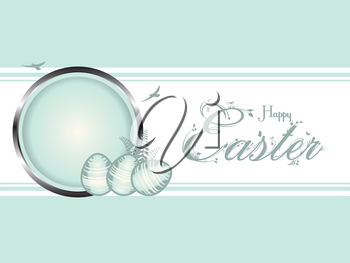 Easter Border Background, with Eggs and Floral Text