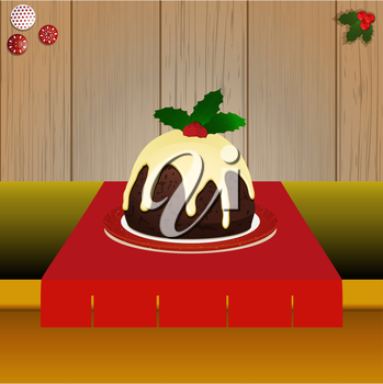 Christmas Pudding with Holly on Tabletop Over Wooden Background