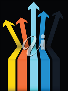 3D Illustration of a Set Of Multicoloured Arrows Going Up with a Step Over Black Background