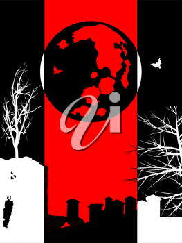Halloween Black Background with Red Panel and Silhouette of cemetery creepy trees moon and bats