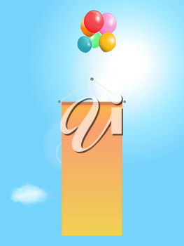 Flying Vertical Blank Copy Space Banner Attached to Balloons Over Blue Sunny Sky Background