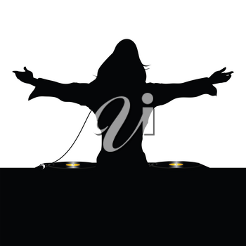 Black Silhouette Of Female DJ Operating On A Record Decks Over White Background