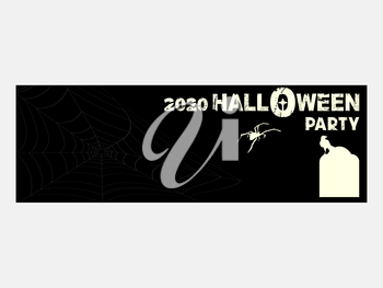 Black Halloween Invite Ticket Blank Copy space With 2020 Halloween Party Decorative Text Spyder Tomb And Crow Silhouette