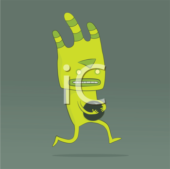Royalty Free Clipart Image of a Creature Running With a Ball